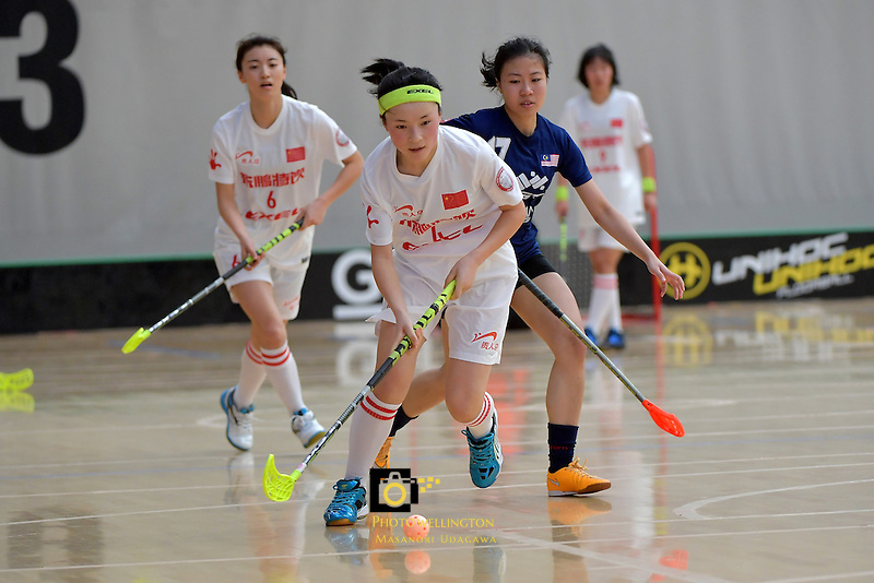 China's Xiaohong Zhang in action during the World Floorball Championships 2017 Qualification for Asia Oceania Region - Malaysia v China at ASB Sports Centre , Wellington, New Zealand on Sunday 5 February 2017.<br /> Photo by Masanori Udagawa<br /> www.photowellington.photoshelter.com.