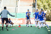 Seattle, WA - Sunday, May 1, 2016: FC Kansas City defender Becky Sauerbrunn (4) during warm-ups prior to National Women's Soccer League (NWSL) match at Memorial Stadium. Seattle won 1-0.