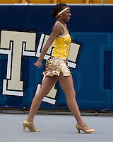 A member of the Grambling State Tigers Orchesis Dance Company struts her stuff in front of the stands of Heinz Field, Pittsburgh, Pennsylvania before the football game between the Tigers and the Pitt Panthers on September 08, 2007.