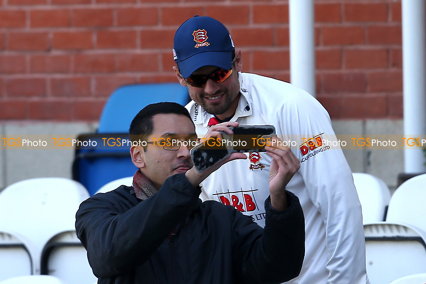 Alastair Cook of Essex enjoys a selfie with a fan during Surrey CCC vs Essex CCC, Specsavers County Championship Division 1 Cricket at the Kia Oval on 11th April 2019