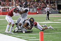 PULLMAN, WA - November 12, 2016: Cal Bears Football team vs. the Washington State University Cougars at Martin Stadium. Final score, Cal Bears 21, Washington State University Cougars 56.