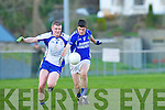 Shane McSweeney Laune Rangers Martin Burke Keel in the Mid Kerry championship quarter final in Killorglin on Saturday