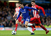 5th December 2017, Stamford Bridge, London, England; UEFA Champions League football, Chelsea versus Atletico Madrid; Eden Hazard of Chelsea runs passed Gabi of Atletico Madrid before firing in a shot which was turned into goal by Savic for 1-1