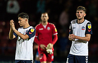 Bolton Wanderers' Eddie Brown (left) and Jordan Boon applaud the travelling fans at the end of the match<br /> <br /> Photographer Andrew Kearns/CameraSport<br /> <br /> The Carabao Cup First Round - Rochdale v Bolton Wanderers - Tuesday 13th August 2019 - Spotland Stadium - Rochdale<br />  <br /> World Copyright © 2019 CameraSport. All rights reserved. 43 Linden Ave. Countesthorpe. Leicester. England. LE8 5PG - Tel: +44 (0) 116 277 4147 - admin@camerasport.com - www.camerasport.com