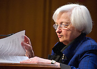 Janet L. Yellen, Chair, Board of Governors of the Federal Reserve System looks over her notes as she testifies before the United States Congress Joint Economic Committee on &quot;The Economic Outlook&quot; in Washington, DC on Thursday, November 17, 2016.  In her prepared remarks Yellen stated &quot;With regard to the outlook, I expect economic growth to continue at a moderate pace sufficient to generate some further strengthening in labor market conditions and a return of inflation to the Committee&rsquo;s 2 percent objective over the next couple of years.&quot;<br /> Credit: Ron Sachs / CNP /MediaPunch