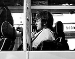 Beatles 1967 John Lennon on the Magical Mystery Tour bus.<br />
