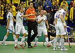 Berlin, Germany, February 01: Players of Rot-Weiss Koeln react to a play during the 1. Bundesliga Herren Hallensaison 2014/15 final hockey match between Harvestehuder THC (black) and Rot-Weiss Koeln (white) on February 1, 2015 at the Final Four tournament at Max-Schmeling-Halle in Berlin, Germany. Final score 10-7 (6-5). (Photo by Dirk Markgraf / www.265-images.com) *** Local caption *** (L-R) Benjamin Wess #15 of Rot-Weiss Koeln, Tom Grambusch #3 of Rot-Weiss Koeln, Mats Grambusch #4 of Rot-Weiss Koeln