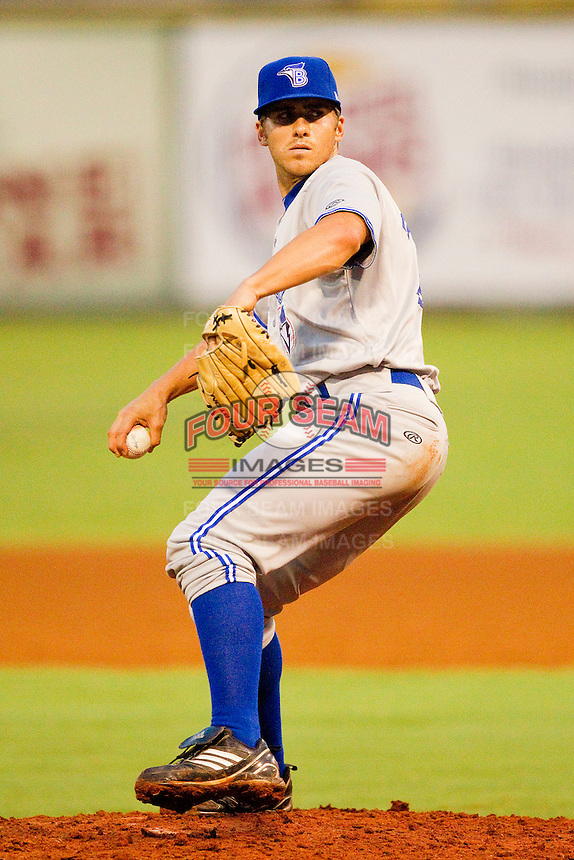 Bluefield Blue Jays relief pitcher Justin James #29 in action against the Elizabethton Twins at Joe O'Brien Field on July 14, 2012 in Elizabethton, Tennessee.  The Twins defeated the Blue Jays 4-0.  (Brian Westerholt/Four Seam Images)