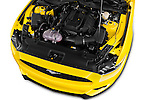 Car Stock 2016 Ford Mustang EcoBoost 2 Door Coupe Engine  high angle detail view