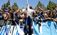 Joe Cannon celebrates with fans after the game. The San Jose Earthquakes defeated Seattle Sounders FC 4-0 at Buck Shaw Stadium in Santa Clara, California on August 2, 2009.