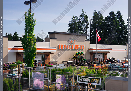 The Home Depot home improvement store front on a sunny sumnmer day. BC, Canada 2017.