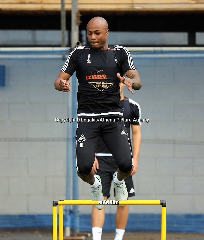 Thursday 09 July 2015<br /> Pictured: Andre Ayew<br /> Re: Swansea City FC pre-season training at Landore training ground, Swansea, south Wales, UK.