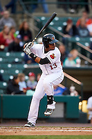Rochester Red Wings shortstop Argenis Diaz (13) at bat during a game against the Lehigh Valley IronPigs on May 15, 2015 at Frontier Field in Rochester, New York.  Rochester defeated Lehigh Valley 5-4.  (Mike Janes/Four Seam Images)