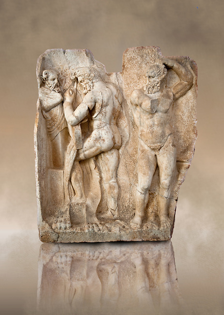 Photo of Roman relief sculpture, Aphrodisias, Turkey, Images of Roman art bas reliefs.  Herakles is preparing to wrestle the Libyan giant Antaios. Herakles (left) is taking off his bow case to hang it on a pillar statue. Antaios (right) is binding up his head with ear protectors, next to him stands an oil basin used in the palaistra (wrestling ground). Antaios was a famous wrestler who challenged and killed all visitors to his country, until he was defeated by Herakles.