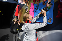 CHICAGO, IL - OCTOBER 06: Manager Jill Ellis of the United States signs autographs after her last game as head coach versus Korea Republic at Soldier Field, on October 06, 2019 in Chicago, IL.