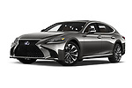 Stock pictures of low aggressive front three quarter view of a 2018 Lexus LS President 4wd 4 Door Sedan
