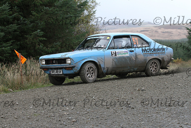 Jim McDowall / Charlotte McDowall at Junction 9 on Special Stage 5 Stewartry Tyres Glengap of the Armstrong Galloway Hills Rally 2013, Round 9 of the RAC MSA Scotish Rally Championship which was organised by Solway, Machars and East Ayrshire Car Clubs and based in Castle Douglas on 27.10.13.