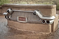 Classic automobile grill as a monument to route 66 in the Petrified National Forest.