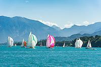 Austria, Upper Austria, Salzkammergut: wonderful sailing ground on lake Attersee, at background Salzkammergut mountains | Oesterreich, Oberoesterreich, Salzkammergut: Segelrevier auf dem Attersee, im Hintergrund die die Salzkammergut-Berge