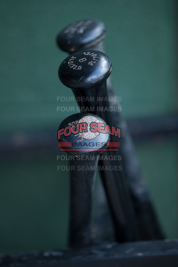 Baseball bats sit in the bat rack in the Hagerstown Suns dugout prior to the game against the Kannapolis Intimidators at Kannapolis Intimidators Stadium on May 6, 2016 in Kannapolis, North Carolina.  The Intimidators defeated the Suns 5-3.  (Brian Westerholt/Four Seam Images)