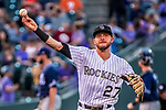 16 September 2017: Colorado Rockies shortstop Trevor Story warms up prior to a game against the San Diego Padres at Coors Field in Denver, Colorado. The Rockies shut out the Padres in a 16-0 route of the second game in their 3-game divisional series. Mandatory Credit: Ed Wolfstein Photo *** RAW (NEF) Image File Available ***