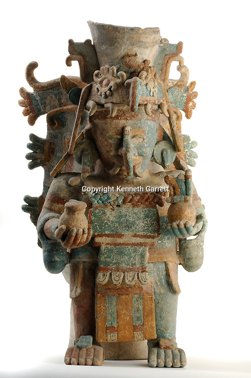 Maya Rise and Fall, Mexico City, National Museum of Anthropology and History, INAH, Censer representing Chaac the rain god, Late postclassic period, Mayapan, Yucatan, Mexico, ceramic