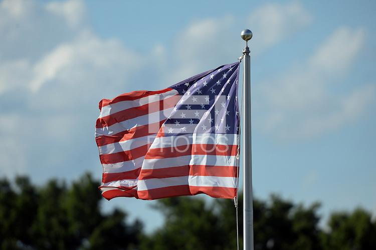Kansas City, MO - Saturday July 16, 2016: American flag prior to a regular season National Women's Soccer League (NWSL) match between FC Kansas City and the Washington Spirit at Swope Soccer Village.