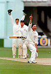 Pix: Shaun Flannery/shaunflanneryphotography.com...COPYRIGHT PICTURE>>SHAUN FLANNERY>01302-570814>>07778315553>>..28th August 1998..............Doncaster Town v Bath..Abbot Ale Cup final at Lords..Doncaster Town bowler Paul Stokoe & wicketkeeper Simon Widdup appeal for LBW against Bath's Rupert Swetman during the Abbot Ale Cup at Lords.