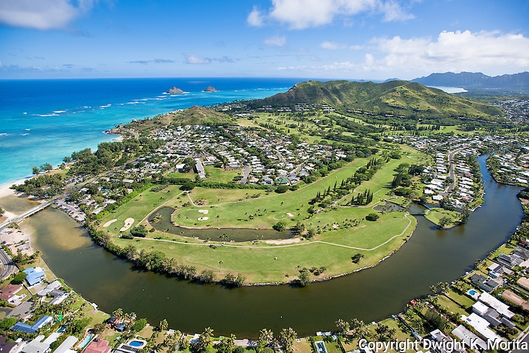 Aerial view of Mid-Pacific Country Club, overlooking the third, fourth, and fifth holes. The Mokulua Islands and Lanikai are in the distance.