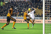3rd November 2017, Molineux, Wolverhampton, England; EFL Championship football, Wolverhampton Wanderers versus Fulham; Kevin McDonald of Fulham has a tight angle but hits his chance over the bar