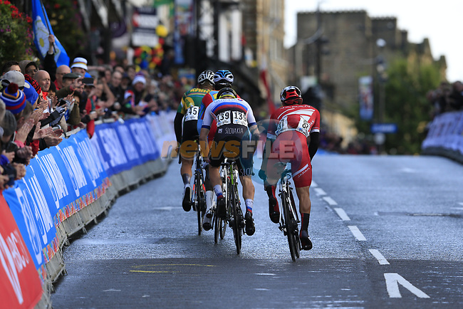 Byron Munto (RSA), Biniam Girmay Hailu (ERI), Lukas Kubis (SVK) and Shunsuke Imamura (JPN) on the Harrogate circuit during the Men U23 Road Race of the UCI World Championships 2019 running 186.9km from Doncaster to Harrogate, England. 27th September 2019.<br /> Picture: Eoin Clarke | Cyclefile<br /> <br /> All photos usage must carry mandatory copyright credit (© Cyclefile | Eoin Clarke)