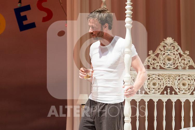 """Eloy Azorin during theater play of """"Una gata sobre un tejado de Cinc caliente"""" at Reina Victoria theater in Madrid, Spain. March 15, 2017. (ALTERPHOTOS/BorjaB.Hojas)"""