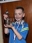 Ardee Celtic Under 8 White player of the year Luke Woods at the Ardee Celtic annual awards night in Ardee parish centre. Photo:Colin Bell/pressphotos.ie