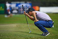 Carlos Ortiz (MEX) lines up his putt on 18 during round 4 of the 2019 Houston Open, Golf Club of Houston, Houston, Texas, USA. 10/13/2019.<br /> Picture Ken Murray / Golffile.ie<br /> <br /> All photo usage must carry mandatory copyright credit (© Golffile | Ken Murray)