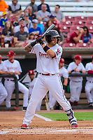 Wisconsin Timber Rattlers catcher Mario Feliciano (4) at bat during game one of a Midwest League doubleheader against the Kane County Cougars on June 23, 2017 at Fox Cities Stadium in Appleton, Wisconsin.  Kane County defeated Wisconsin 4-3. (Brad Krause/Four Seam Images)
