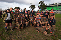 The FOBO team celebrates winning the Manawatu senior 1 club rugby Val Holland Memorial Trophy final between Feilding Old Boys Oroua and Te Kawau at Arena Manawatu in Palmerston North, New Zealand on Saturday, 22 July 2017. Photo: Dave Lintott / lintottphoto.co.nz