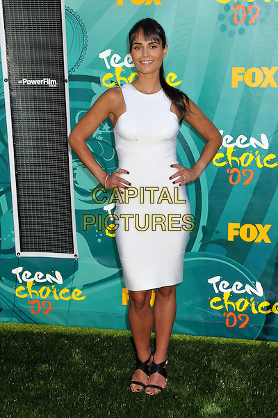 JORDANA BREWSTER.Teen Choice Awards 2009 - Arrivals held at the Gibson Amphitheatre, Universal City, CA, USA..August 9th, 2009.full length white dress black sandals hands on hips.CAP/ADM/BP.©Byron Purvis/AdMedia/Capital Pictures.