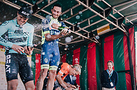"Champagne shower! Guillaume Van Keirsbulck (BEL/Wanty-Groupe Gobert) wins the Antwerp Port Epic 2018 (formerly ""Schaal Sels"").<br /> Aksel Nõmmela (EST/BEAT Cycling Club) is 2nd and last years winner Taco van der Hoorn (NED/Roompot-Nederlandse Loterij) finishes 3rd.<br /> <br /> One Day Race:  Antwerp > Antwerp (207 km; of which 32km are cobbles & 30km is gravel/off-road!)"