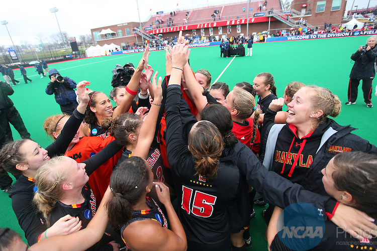 20 NOV 2011: The University of Maryland celebrates their victory over the University of North Carolina during the Division I Women's Field Hockey Championship held at Trager Stadium on the University of Louisville campus in Louisville, KY.  Maryland defeated North Carolina 3-2 in overtime to win the national title. Jonathan Palmer/ NCAA Photos