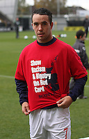 Doug Imrie wearing the Anti Racism and Bigotry T shirt before the St Mirren v Celtic Clydesdale Bank Scottish Premier League match played at St Mirren Park, Paisley on 20.10.12.
