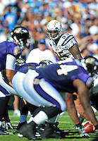 Sep. 20, 2009; San Diego, CA, USA; San Diego Chargers linebacker Shaun Phillips against the Baltimore Ravens at Qualcomm Stadium in San Diego. Baltimore defeated San Diego 31-26. Mandatory Credit: Mark J. Rebilas-