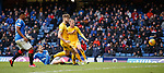 16.02.2020 Rangers v Livingston: Andy Halliday comes close to breaking the deadlock in the first half