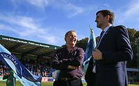 Bill Turnbull with Wycombe Media Matt Cecil during the Sky Bet League 1 match between Wycombe Wanderers and Southend United at Adams Park, High Wycombe, England on 29 September 2018. Photo by Kevin Prescod / PRiME Media Images.