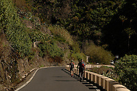 """Walking along mountain road . at Masca, """"the hidden village' Tenerife, Canary islands."""