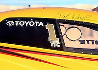 Feb 3, 2016; Chandler, AZ, USA; Detailed view of the #1 world champion sticker on the NHRA funny car of driver Del Worsham during pre season testing at Wild Horse Pass Motorsports Park. Mandatory Credit: Mark J. Rebilas-USA TODAY Sports