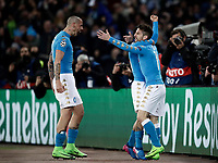 Napoli&rsquo;s Dries Mertens, right, celebrates with teammates Lorenzo Insigne, center, partially seen, and Marek Hamsik, after scoring during the round of 16 second leg soccer match Champions League between Napoli and Real Madrid at the San Paolo stadium, 7 March 2017. Real Madrid won 3-1 to reach the quarter-finals.<br /> UPDATE IMAGES PRESS/Isabella Bonotto