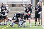 Torrance, CA 05/11/13 - Alex Waller (St Margarets #17), Ben Klein (Harvard Westlake #27), Matt Edelstein (Harvard Westlake #33) and unidentified Harvard-Westlake player(s) in action during the Harvard Westlake vs St Margarets 2013 Los Angeles / Orange County Championship game.  St Margaret defeated Harvard Westlake 15-8.