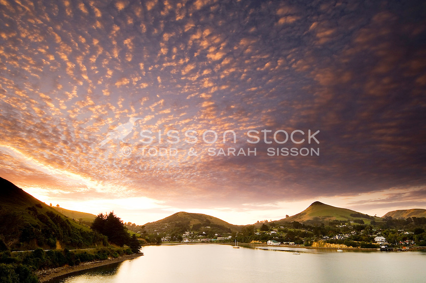 Sunrise Harbour Cone & Portobello village | Pink clouds| Otago Peninsula Dunedin south island New Zealand