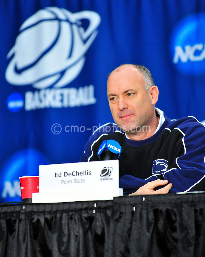 Mar 16, 2011; Tucson, AZ, USA; Penn State Nittany Lions head coach Ed DeChellis during a press conference at a practice day before the second round of the 2011 NCAA men's basketball tournament at the McKale Center.