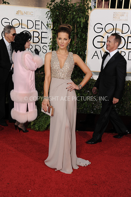 WWW.ACEPIXS.COM<br /> <br /> January 11 2015, LA<br /> <br /> Kate Beckinsale arriving at the 72nd Annual Golden Globe Awards at The Beverly Hilton Hotel on January 11, 2015 in Beverly Hills, California.<br /> <br /> By Line: Peter West/ACE Pictures<br /> <br /> <br /> ACE Pictures, Inc.<br /> tel: 646 769 0430<br /> Email: info@acepixs.com<br /> www.acepixs.com